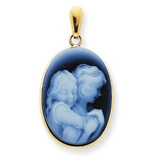 14k Everlasting Love Mother & Daughter Agate Cameo Pendant
