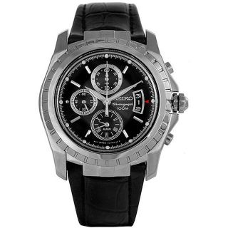 Seiko Mens Black Dial Black Leather Strap Chronograph Watch
