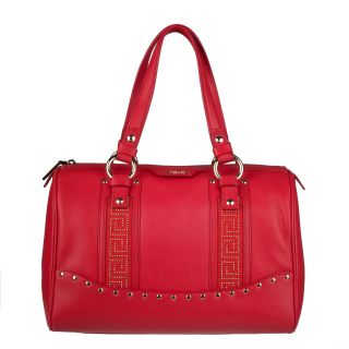 Versace Red Leather Studded Bowler Bag