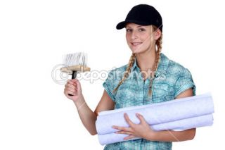 Woman putting up wallpaper  Foto Stock © photography33 #11756799