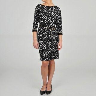 Tiana B. Womens Polka Dot Jersey Knit Dress