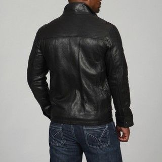 Andrew Marc Mens Rugged Lamb Leather Stand Collar Coat
