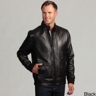 Izod Mens Lambskin Leather Elastic Waist Jacket
