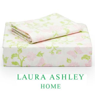 Laura Ashley Butterfly Floral 200 Thread Count Twin size Sheet Set