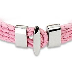 Pink Braided Leather Multi cord Bracelet