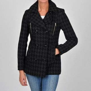 Esprit Womens Charcoal Fancy Double breasted Wool blend Coat