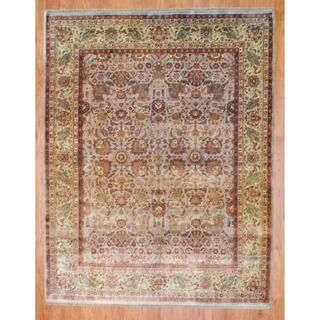 Indo Hand knotted Beige/ Gold Oushak Wool Rug (8 x 10)