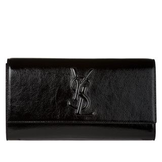 Yves Saint Laurent Belle du Jour Large Black Patent Leather Clutch