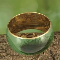 Handcrafted Pastel Enamel Peacock Feather Print Bangle (India