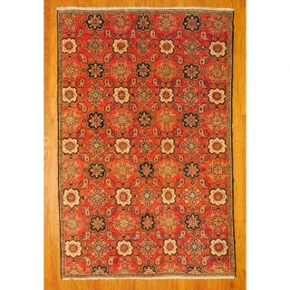 Antique Persian Hand knotted Tribal Heriz Salmon/ Ivory Wool Rug (62