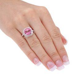 Miadora 10k Gold Pink Topaz and 1/10ct TDW Diamond Ring (I J, I2 I3