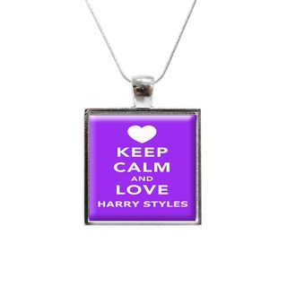 Keep Calm and Love Harry Styles One Direction Glass Pendant and