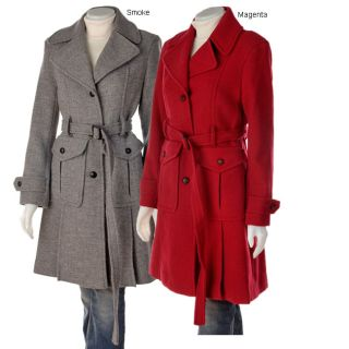 DKNY Wool Belted Trench Coat