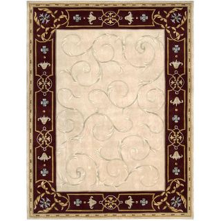Hand carved Ivory Wool Rug (8 x 106)