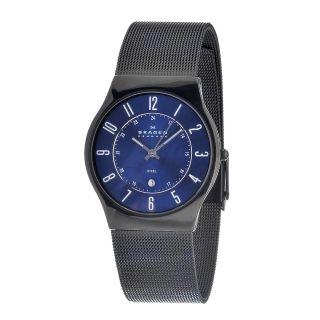 Skagen Mens Stainless Steel Blue Dial Multifunction Watch