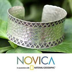 Sterling Silver Tribal Moon Cuff Bracelet (Thailand)