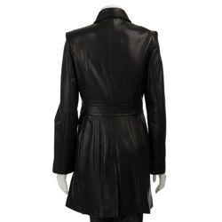 Jones New York Womens Leather Walker Coat