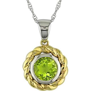 10k Two tone Gold Round Peridot Necklace