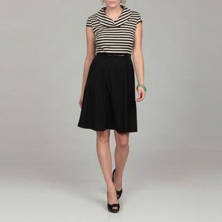 Spense Womens Black/ Ivory Stripe Belted Dress