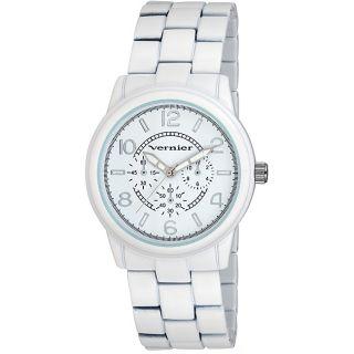 Vernier Womens V203 Round White Crono Look Bracelet Watch