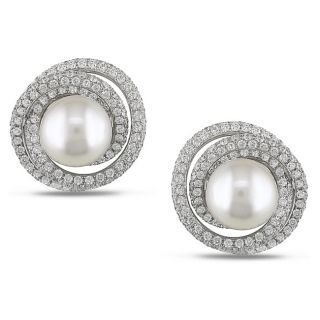 Miadora 18k White Gold 4ct TDW Diamond and Pearl Earrings (11 12 mm)(G