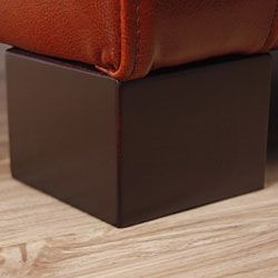 Tufted Cognac Leather Storage Bench