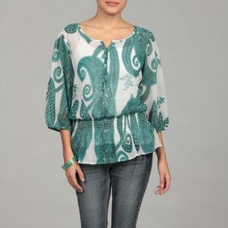 Jennifer & Grace Womens Green Paisley Top