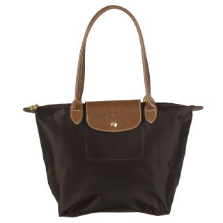 Longchamp Small Le Pliage Brown Nylon/Leather Travel Bag