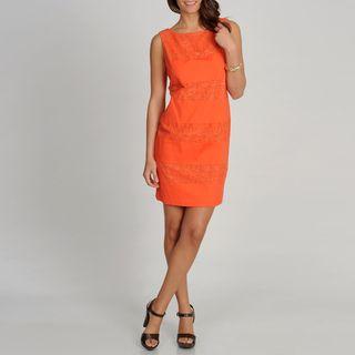 Fashions Womens Orange Lace Striped S.L.eeveless Dress