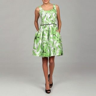 Ceces New York Womens Celery Green Floral Dress FINAL SALE