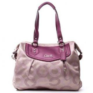 Coach Ashley Dotted Op Art Shoulder Bag Khaki/Berry 20068