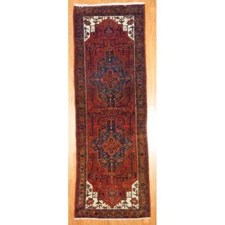 Persian Hand knotted Hamadan Red/ Gold Wool Rug (32 x 96