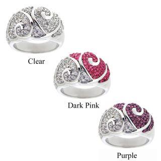 Icz Stonez Womens Sterling Silver Crystal Heart Fashion Ring
