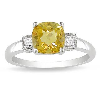 10k White Gold Citrine and Diamond Fashion Ring