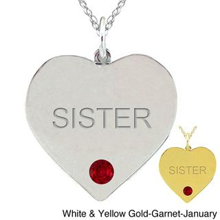 10k Gold Birthstone Engraved SISTER Heart Necklace
