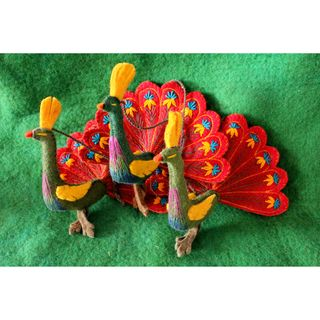 Handcrafted Red Feathers Felt Peacock Ornament (Kyrgyzstan