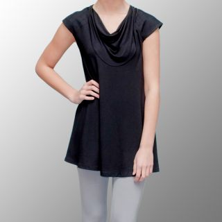to Z Womens Quilted Padded Shoulder Cap sleeve Tunic Top