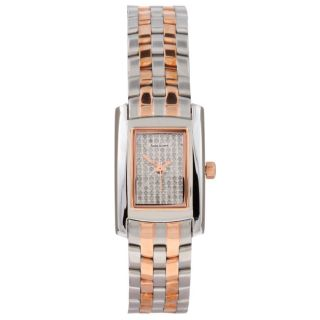 Andre Giroud Womens Two tone Pave Diamond Dial Watch