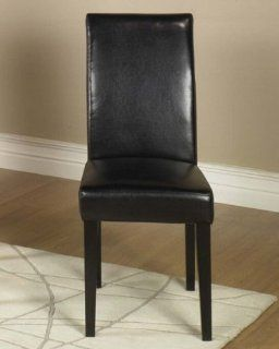 Leather Parsons Dining Chair 2 Chairs Color   Black