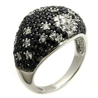 Beverly Hills Charm Silver Black Sapphire and 1/3ct TDW Diamond Dome