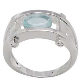 De Buman Sterling Silver Aquamarine and White Topaz Ring
