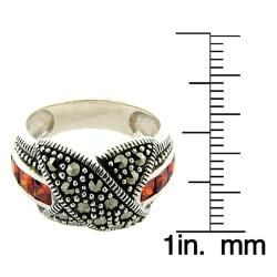 Sterling Silver Marcasite and Garnet X Design Ring