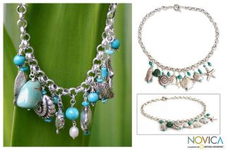 Sterling Silver Open Sea Pearl and Turquoise Necklace (Thailand