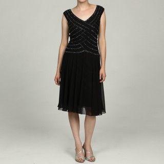 Laxmi Womens Bead Embellished Short Evening Dress