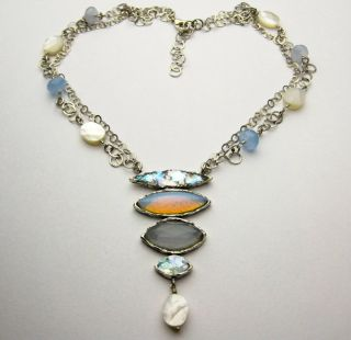 Silver Murano and Roman Glass with Pearl Waterfall Necklace (2 mm