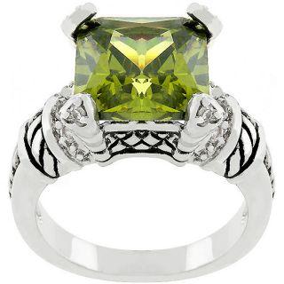 Kate Bissett Silvertone Olive Eyes Green Cubic Zirconia Ring