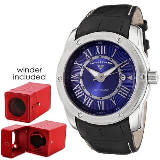 Swiss Legend Mens Traveler Black Leather Automatic Watch