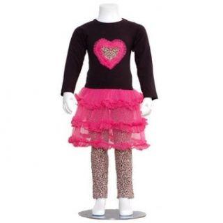 Little Girls Black Fuchsia Heart Size 6 Cheetah Legging
