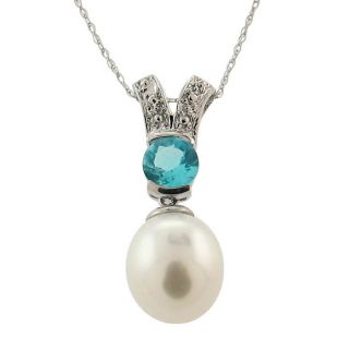 14k White Gold White Freshwater Pearl and Blue Topaz Necklace (8 9 mm