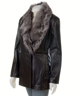 Marvin Richards Black Fur Trim Leather Coat